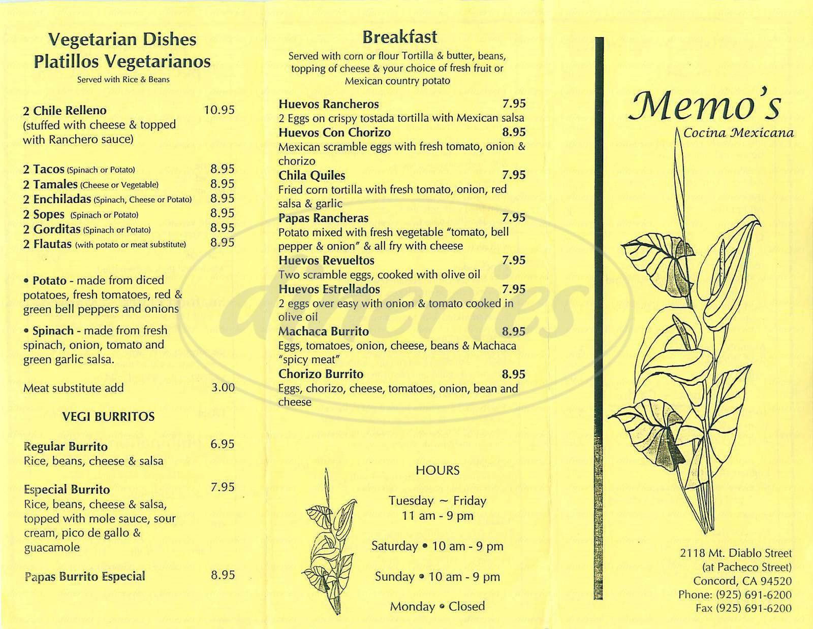 menu for Memos Cocina Mexicana