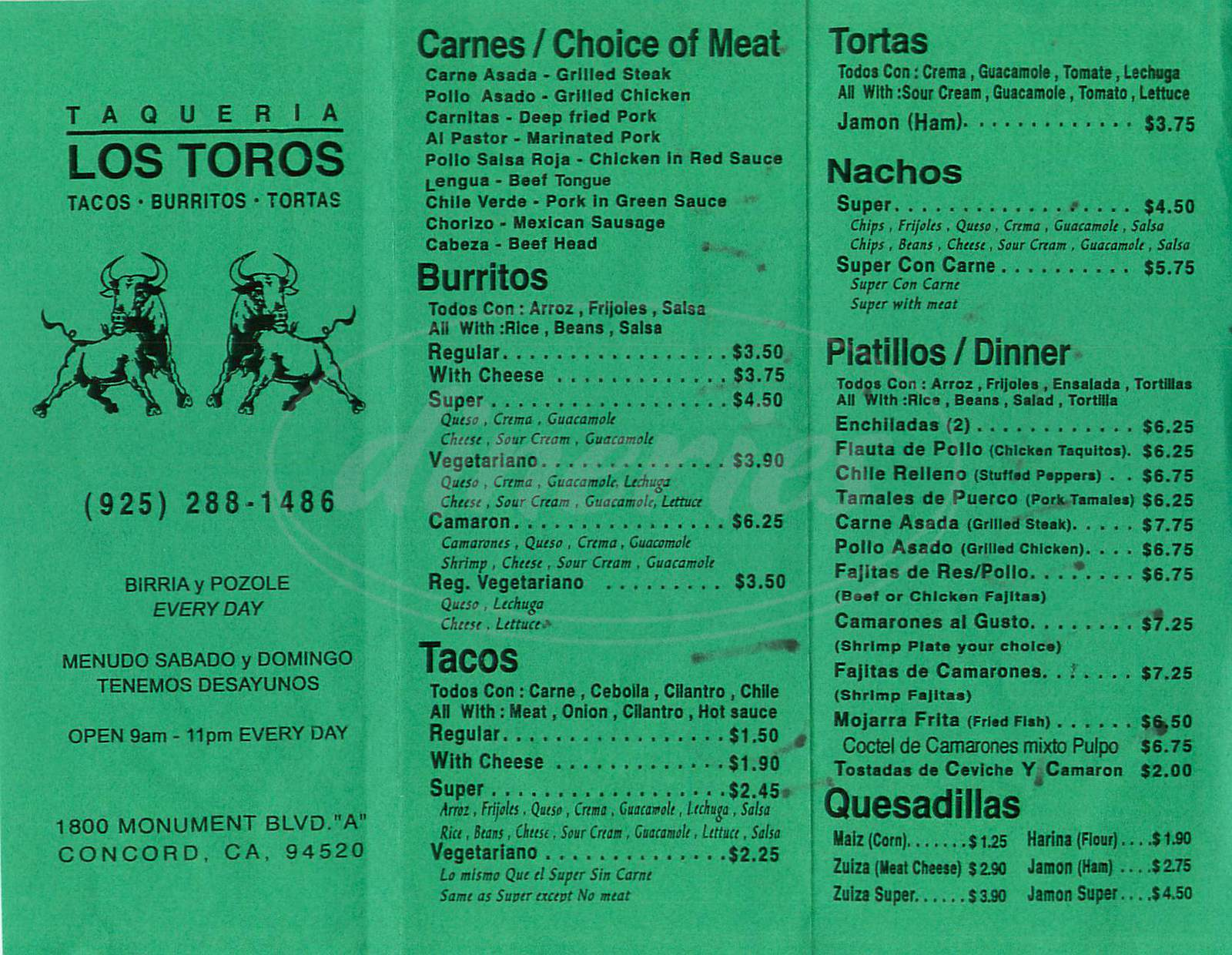 menu for Taqueria Los Toros