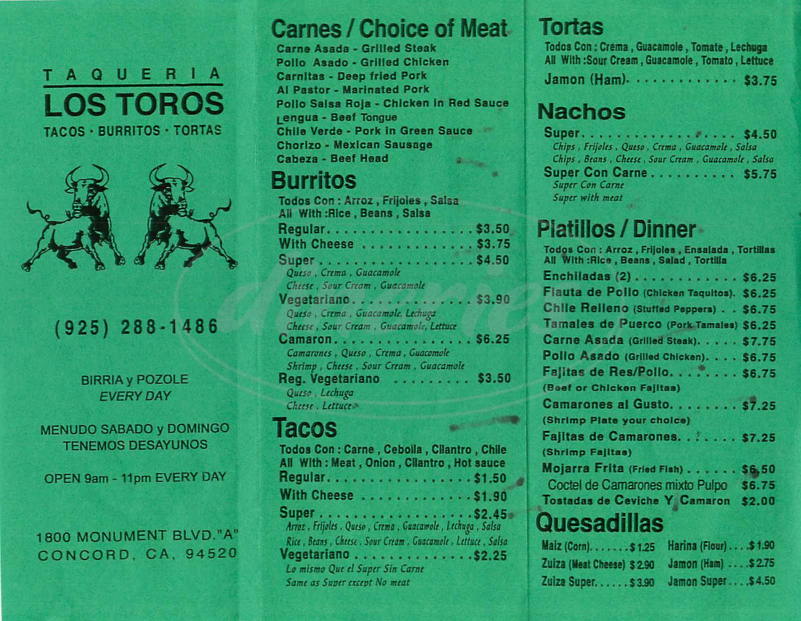 menu for Taqueria Los Toros