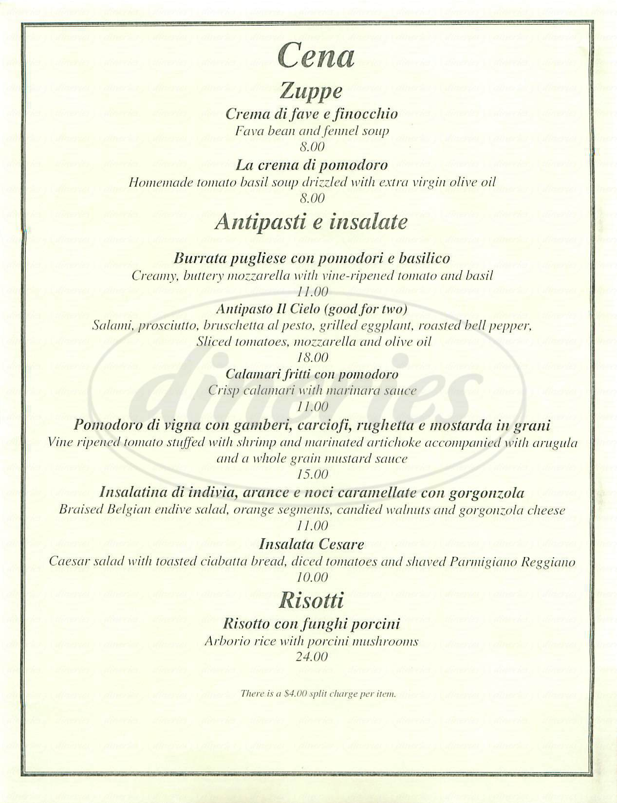 menu for Il Cielo