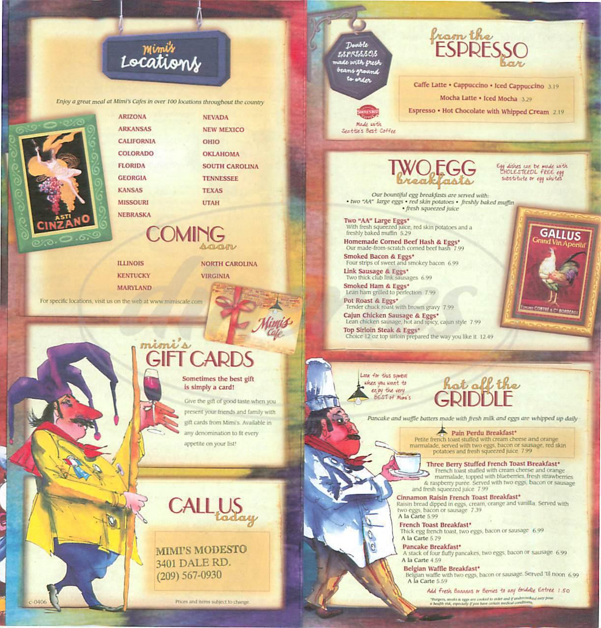 menu for Mimi's Café