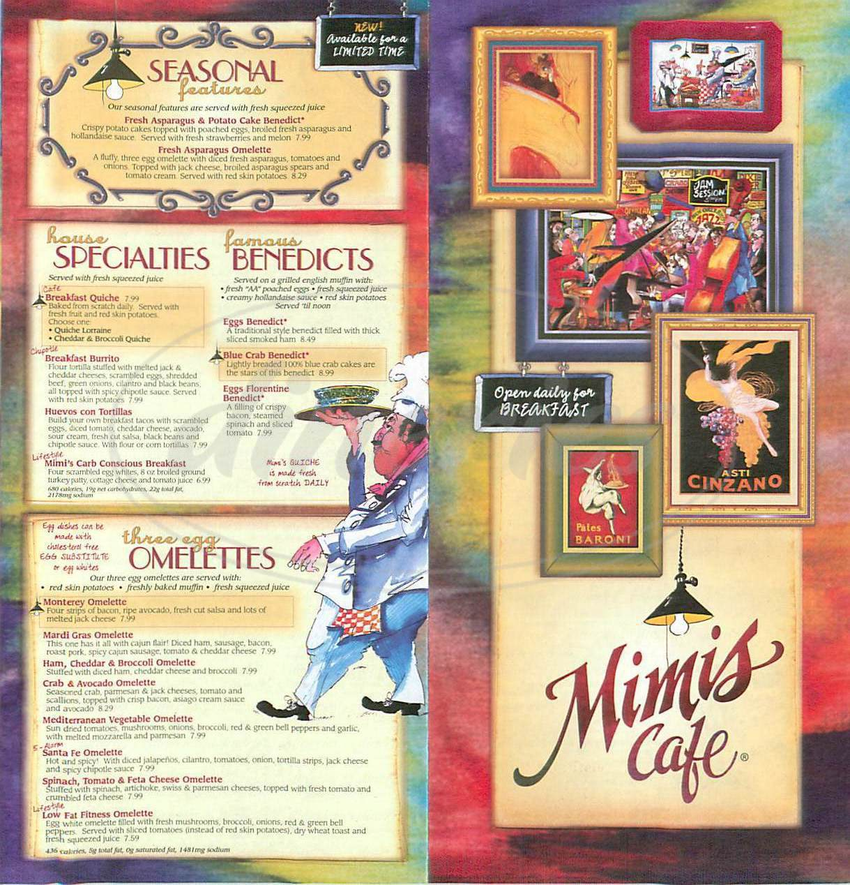 menu for Mimi's Café