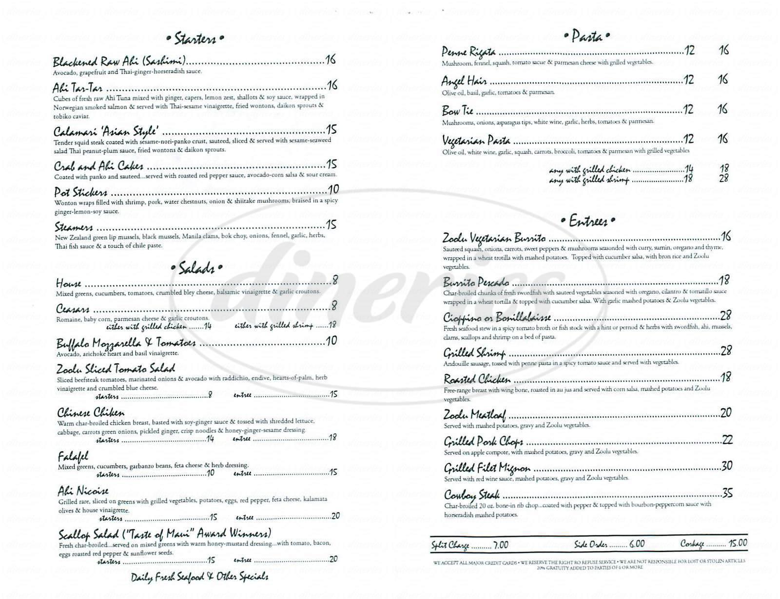 menu for Café Zoolu