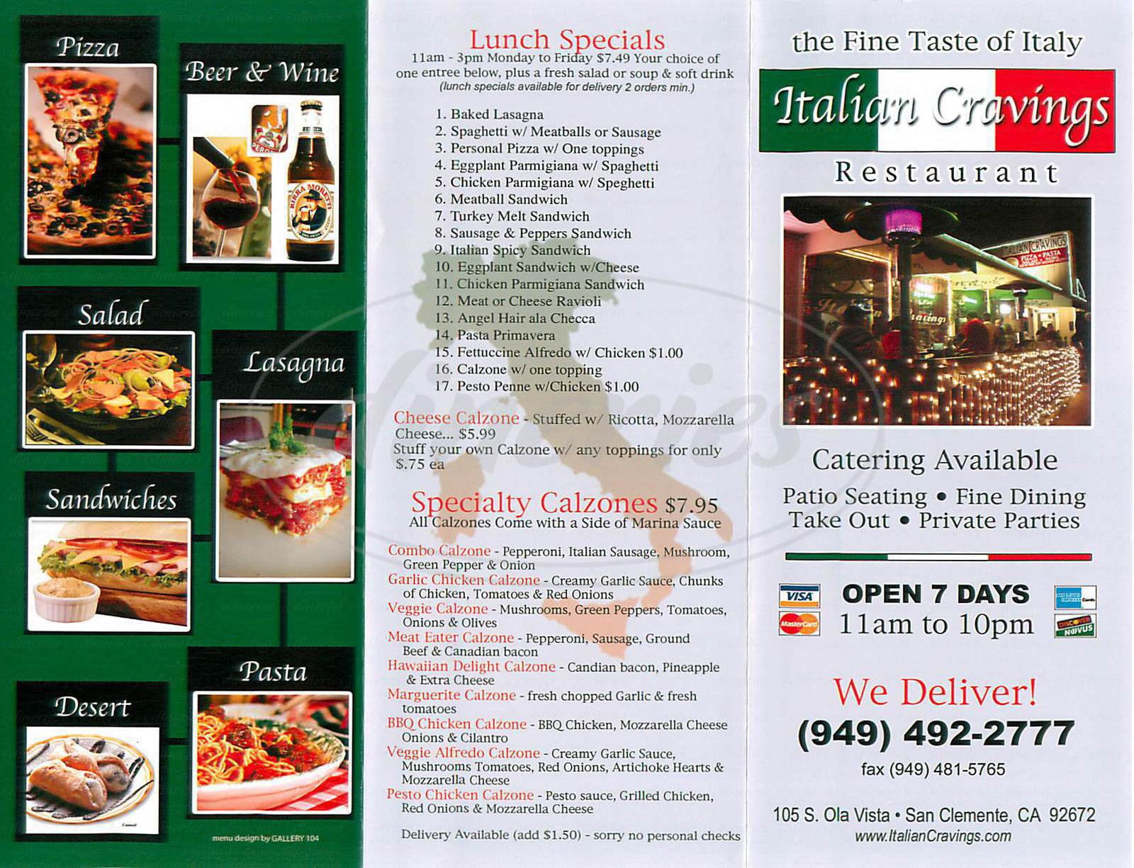 menu for Italian Cravings