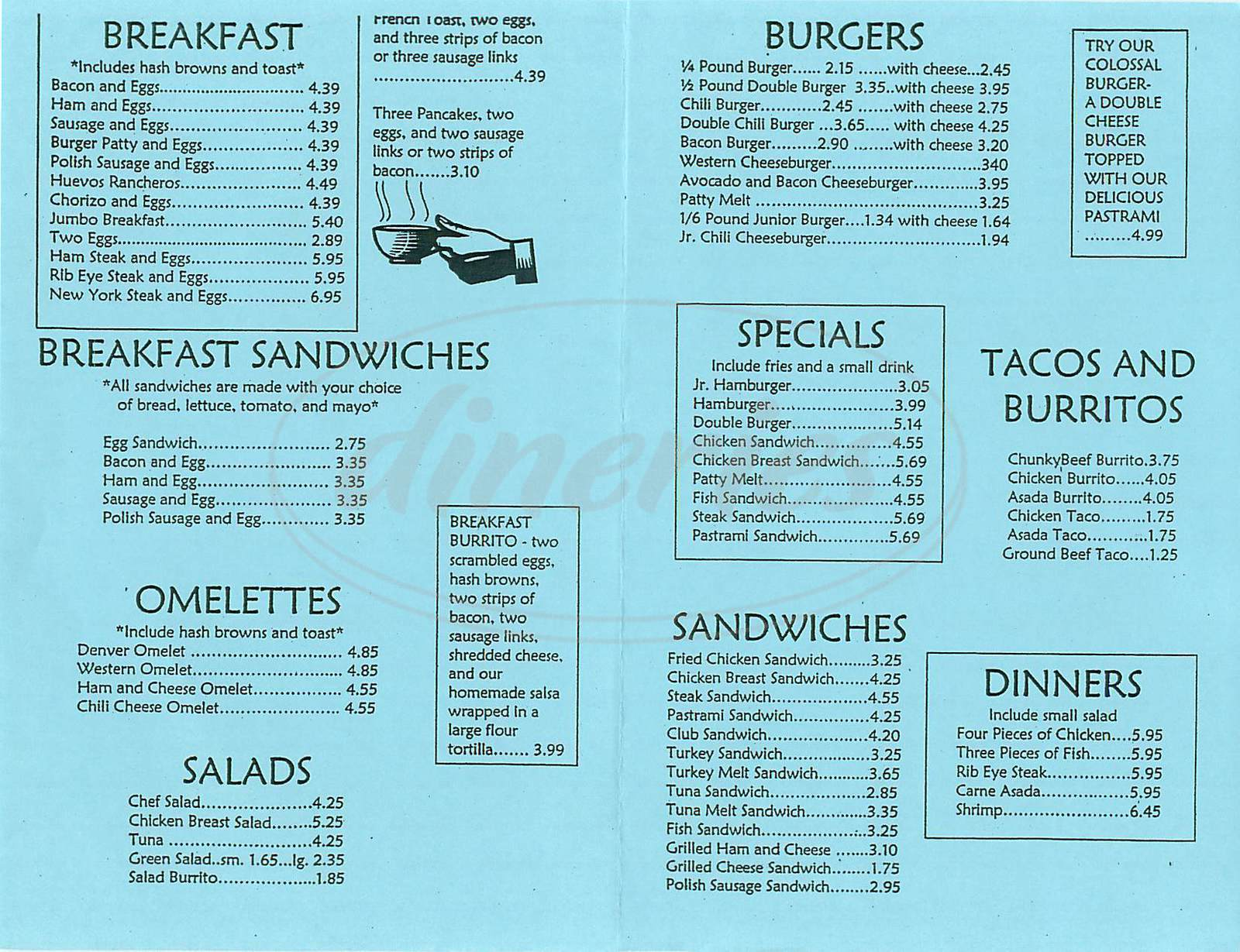 menu for Country Burger Drive In