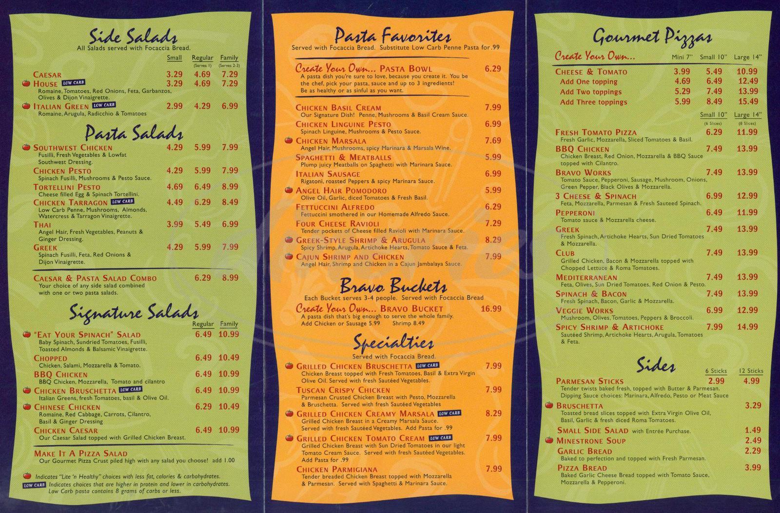 menu for Pasta Bravo