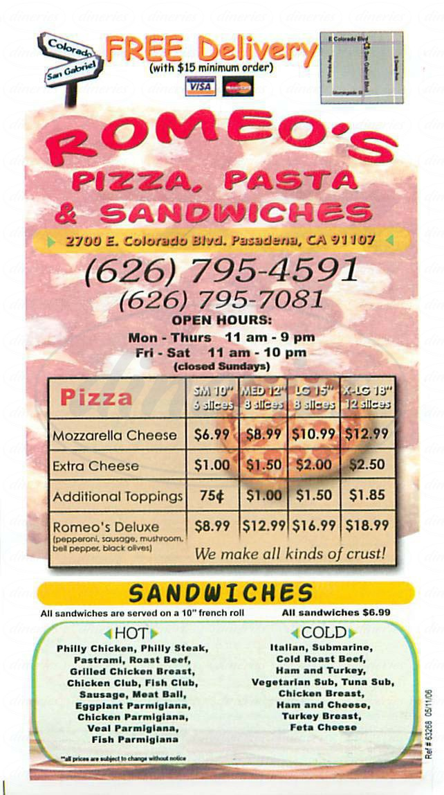 menu for Romeos Pizza