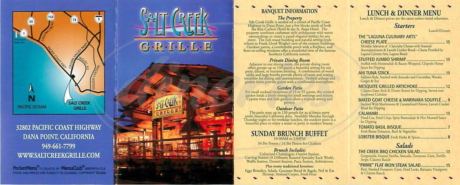 menu for Salt Creek Grille