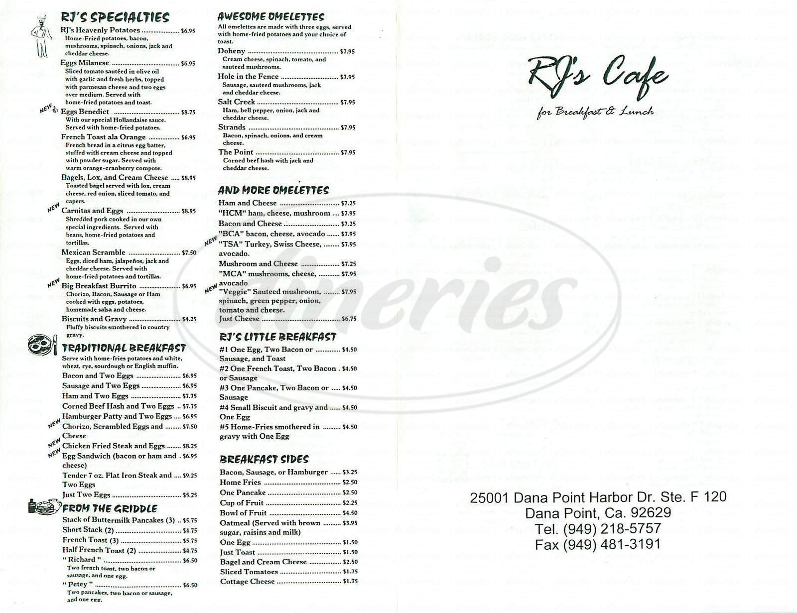 menu for RJ's Café