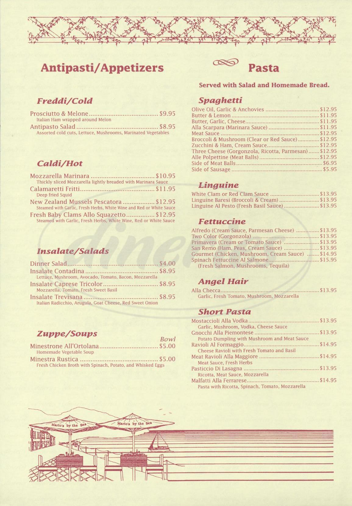 menu for Marios by The Sea Ristorante