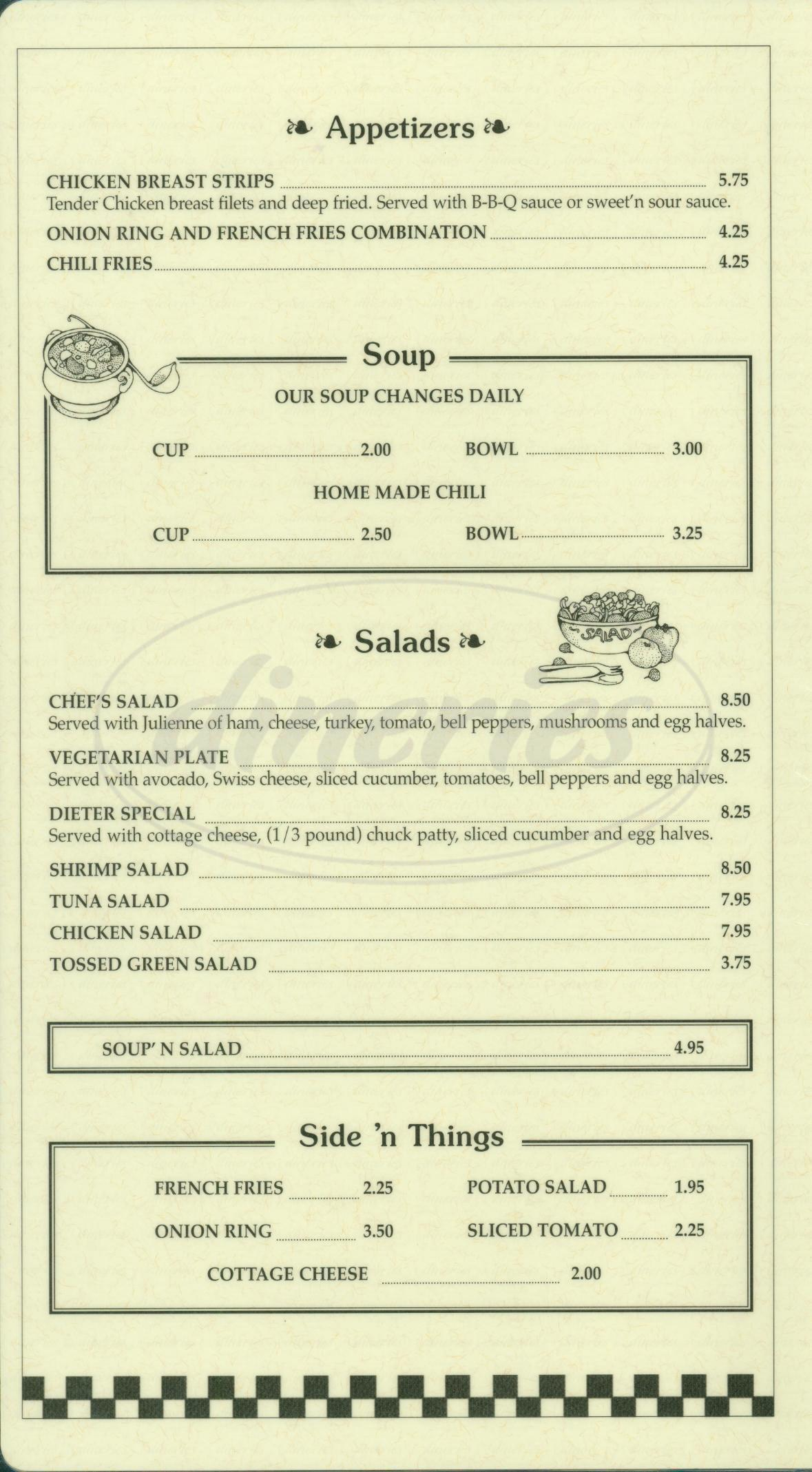menu for Westlake Coffee Shop