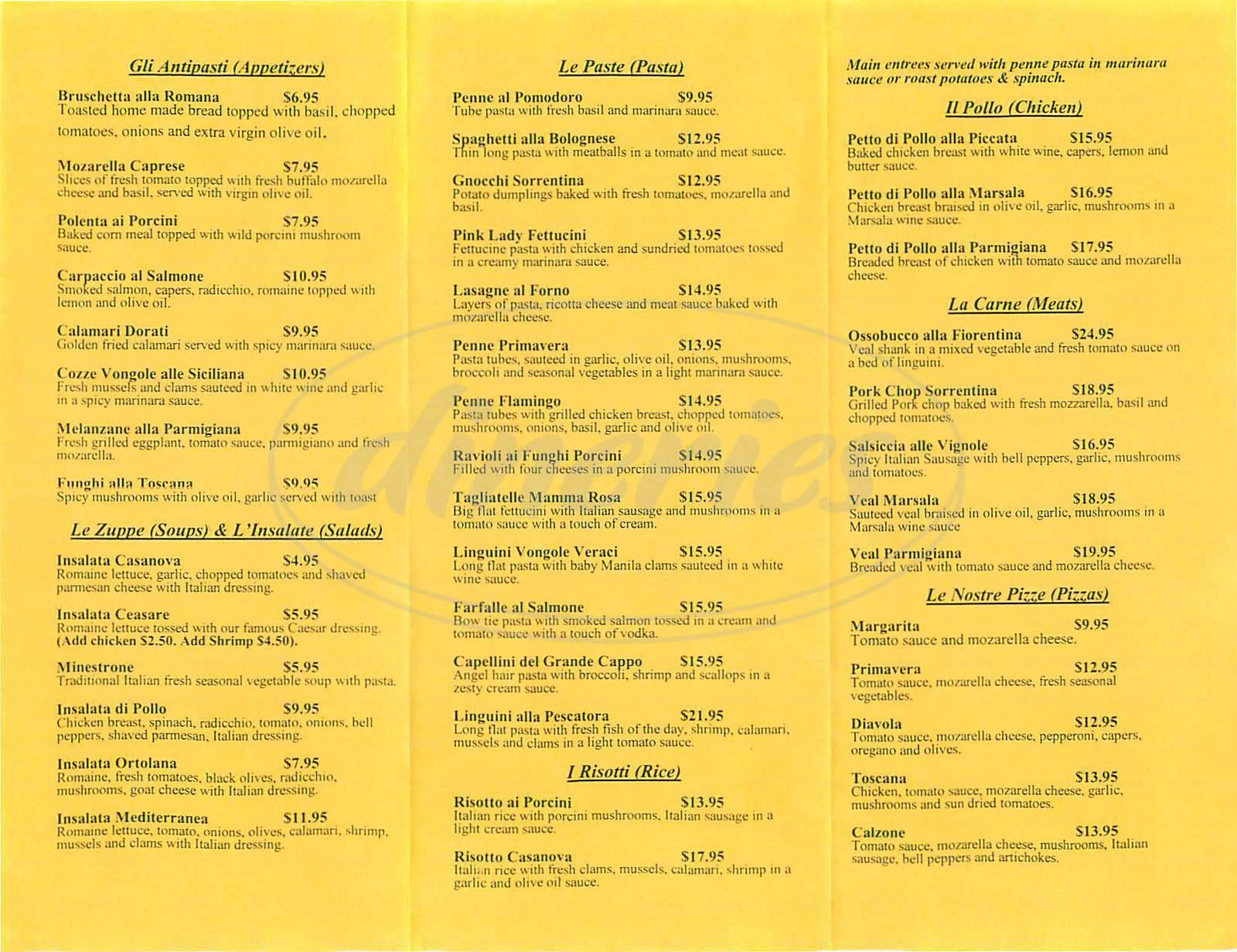 menu for Casanova Ristorante