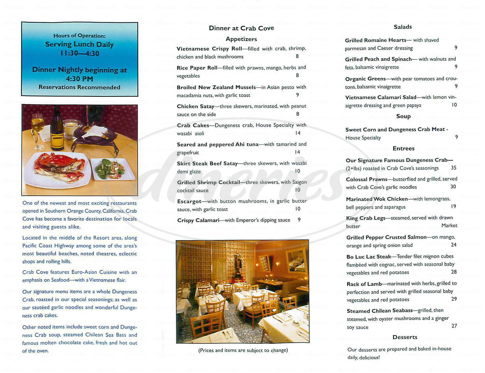 menu for Crab Cove Euroasian Cuisine