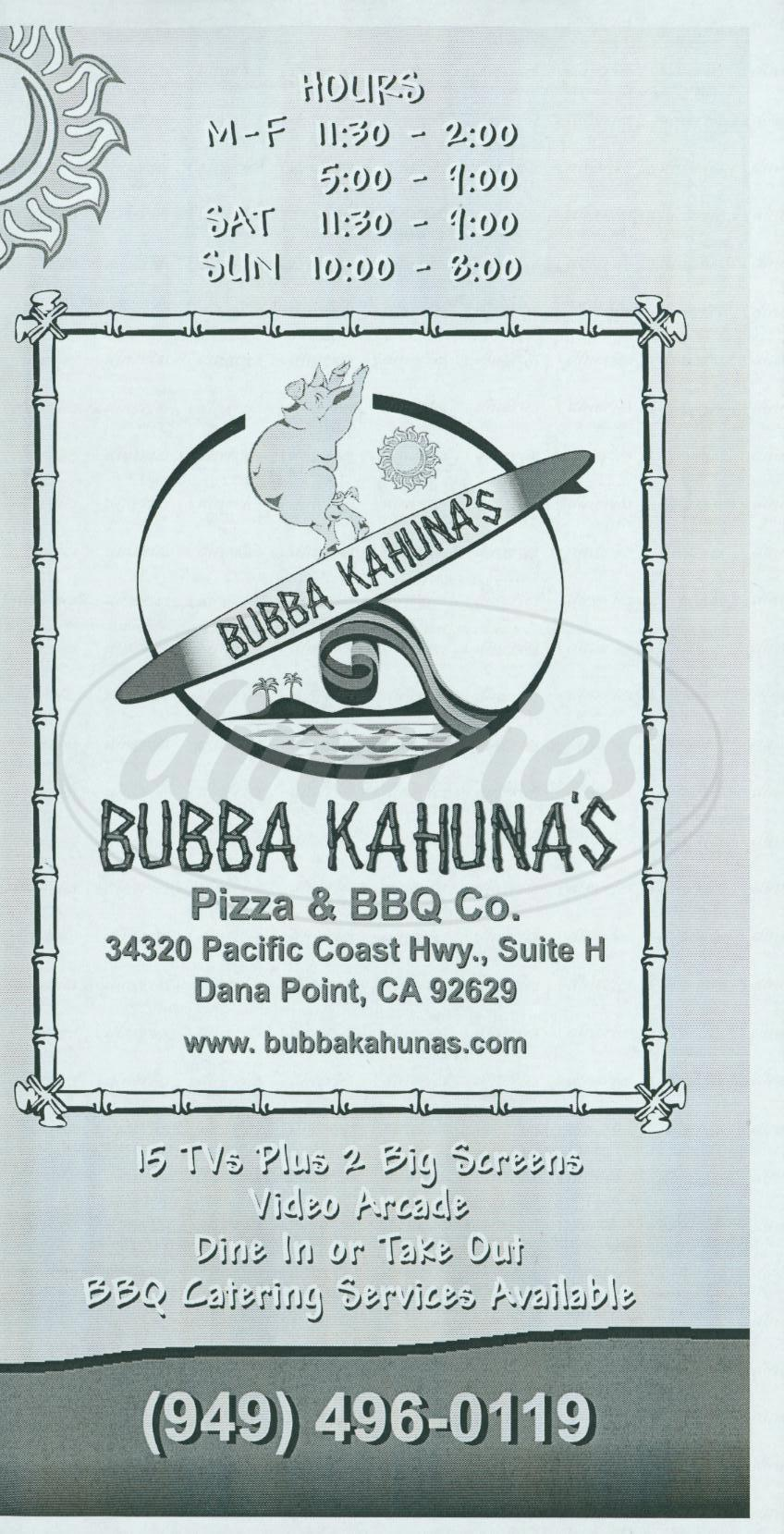 menu for Bubba Kahuna's