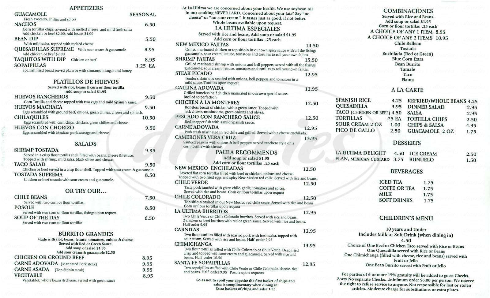 menu for La Ultima New Mexican Food