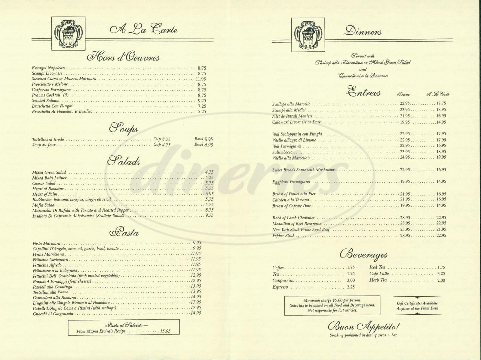 menu for Marcellos Restaurant