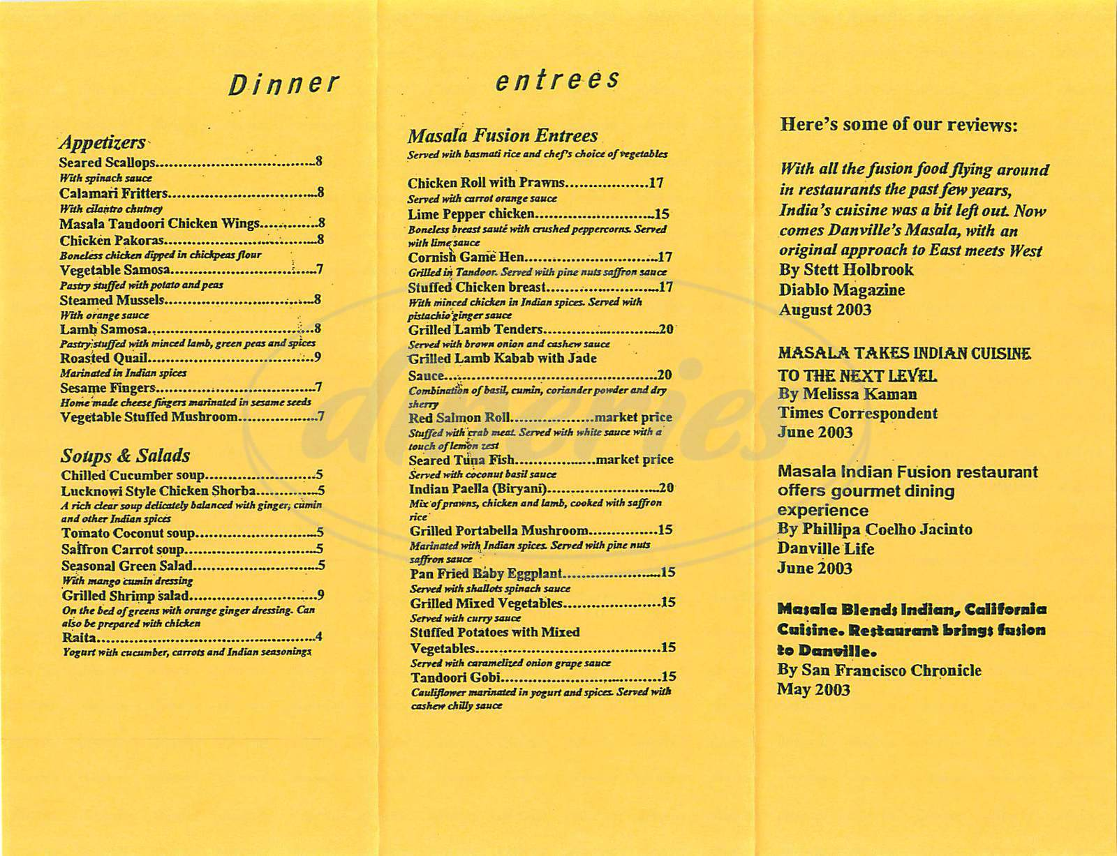menu for Masala Indian Fusion