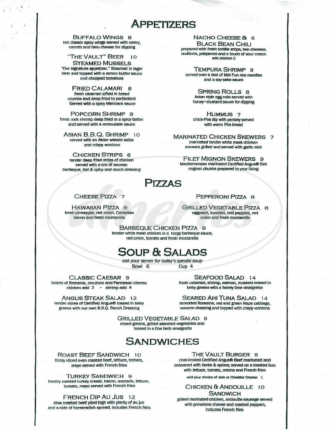 menu for The Vault Bar & Grill