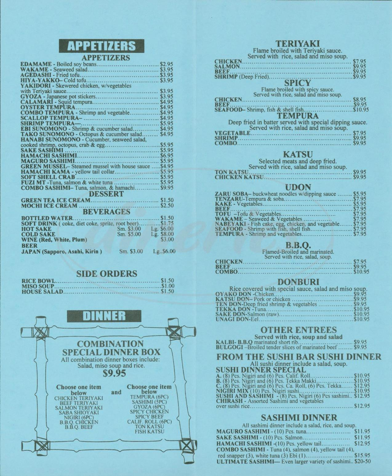 menu for Mikado Sushi