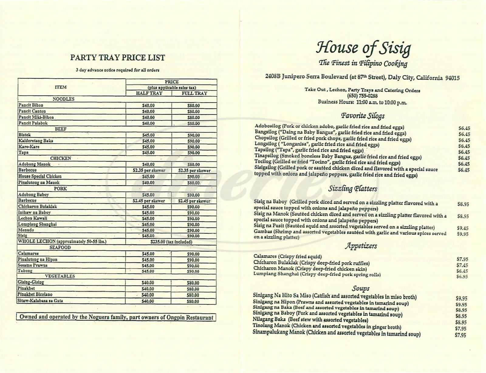menu for House of Sisig