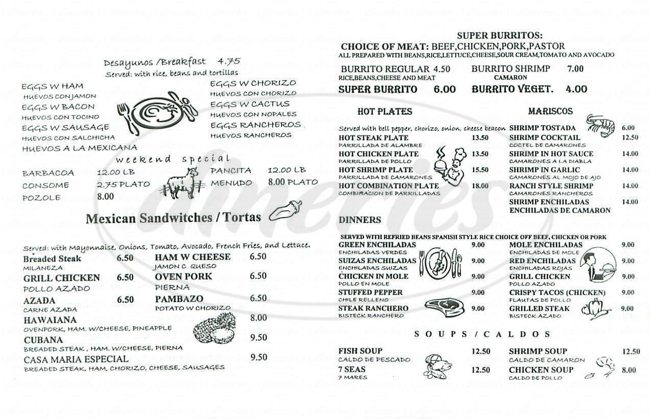 menu for La Casa de Maria