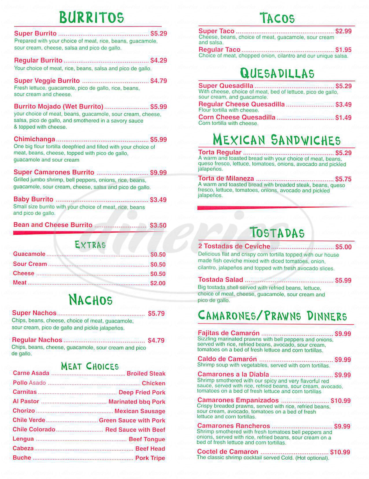 menu for Taqueria Jalisco