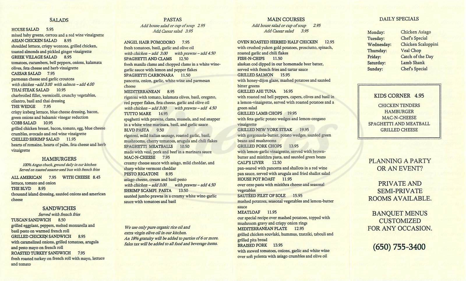 menu for The Boulevard Café