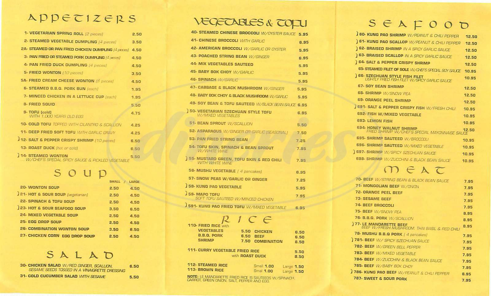 menu for Le Mandarette