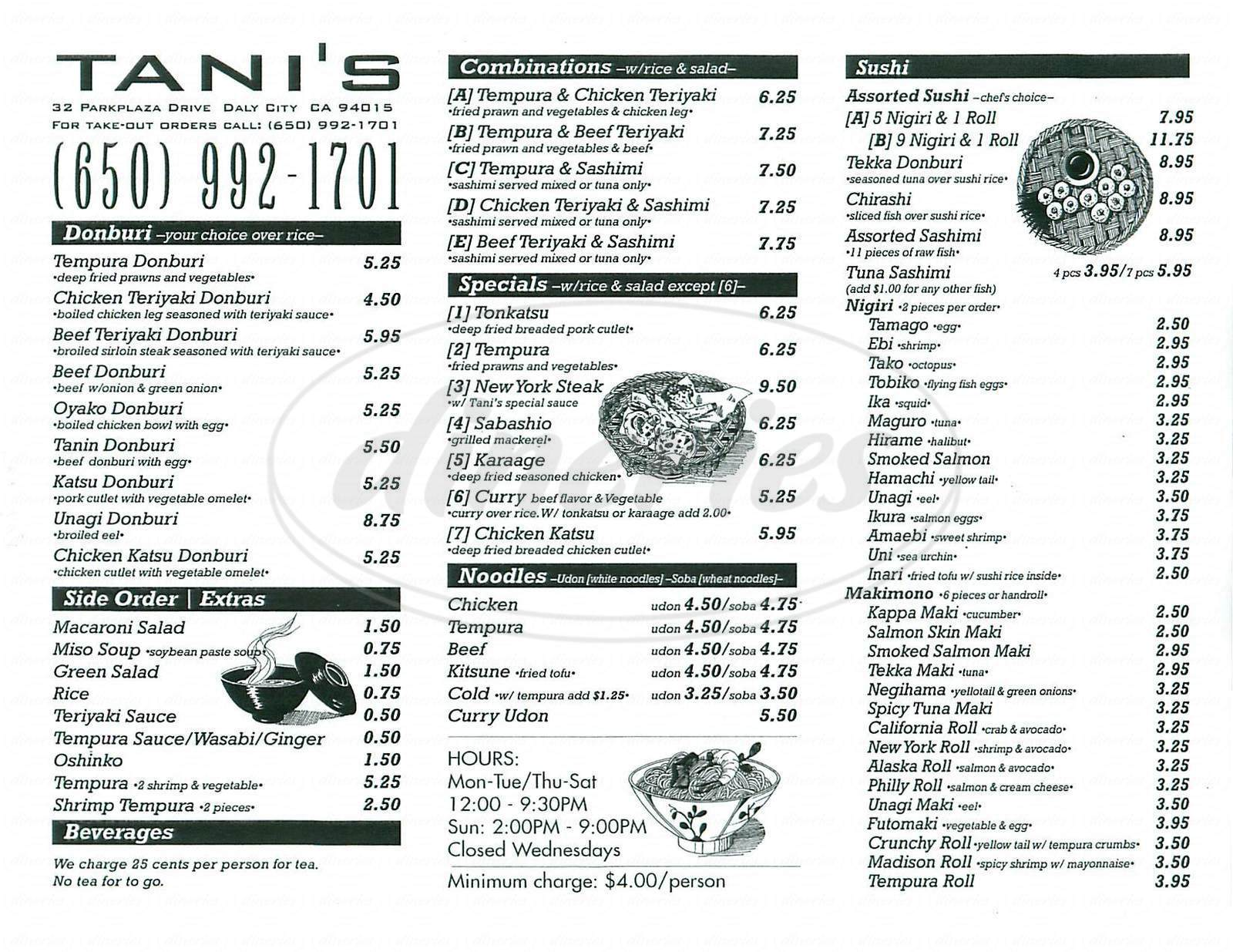 menu for Tanis Kitchen