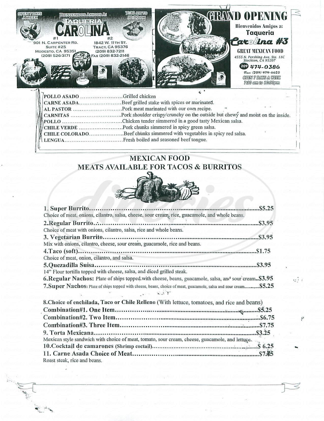menu for Taqueria Carolina No 3