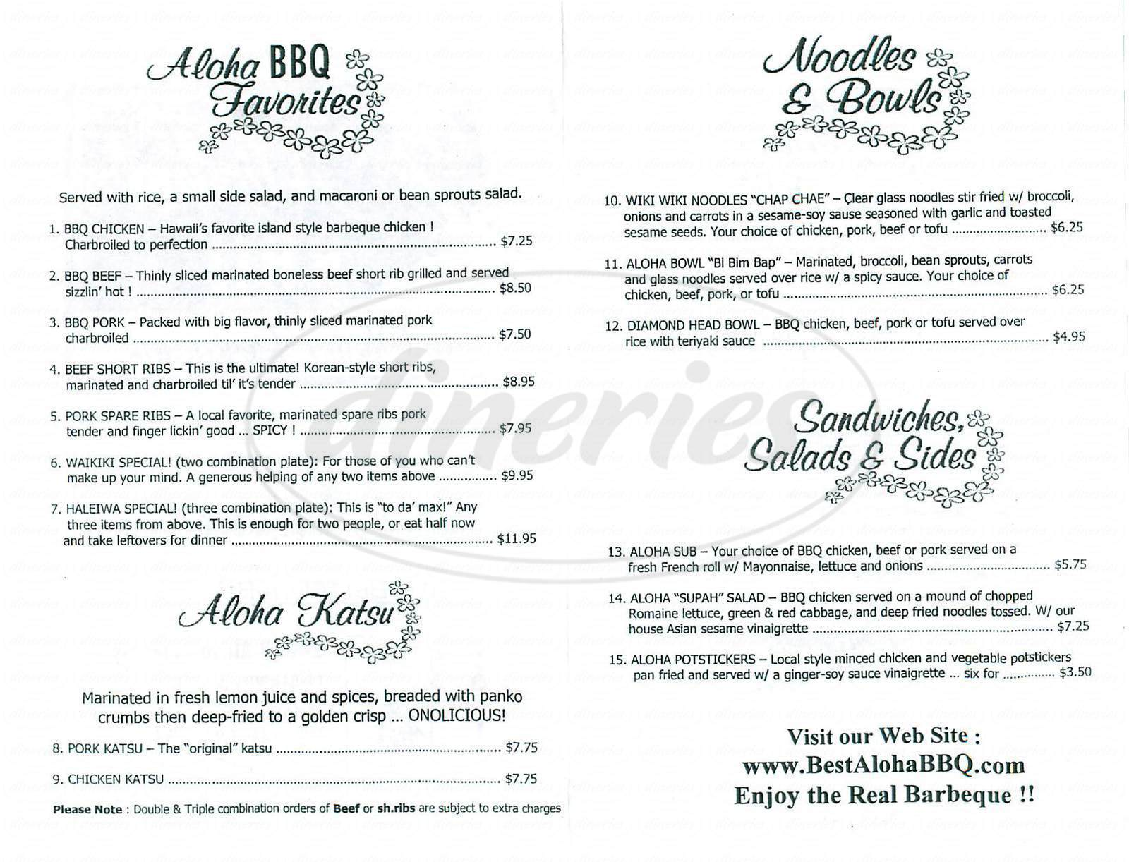 menu for Aloha Bbq