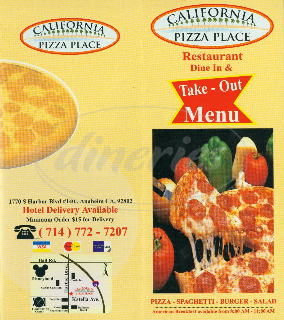 menu for California Pizza Place