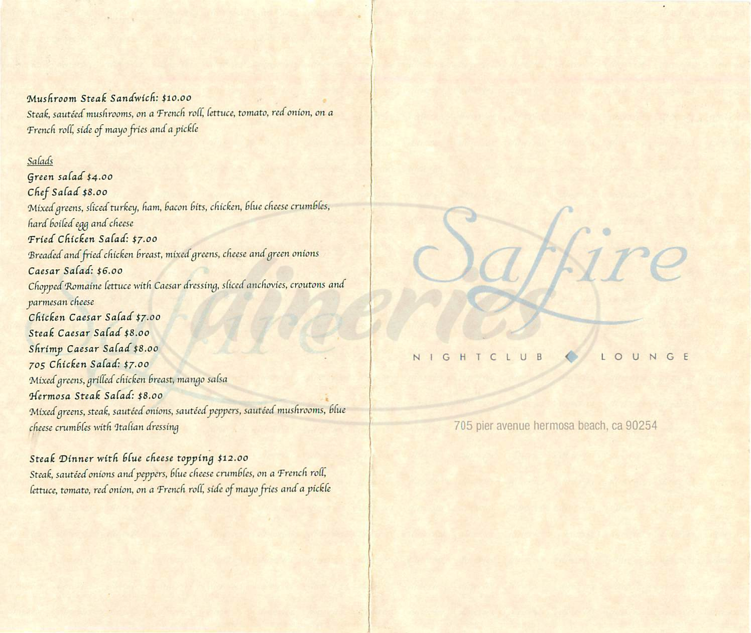 menu for Saffire