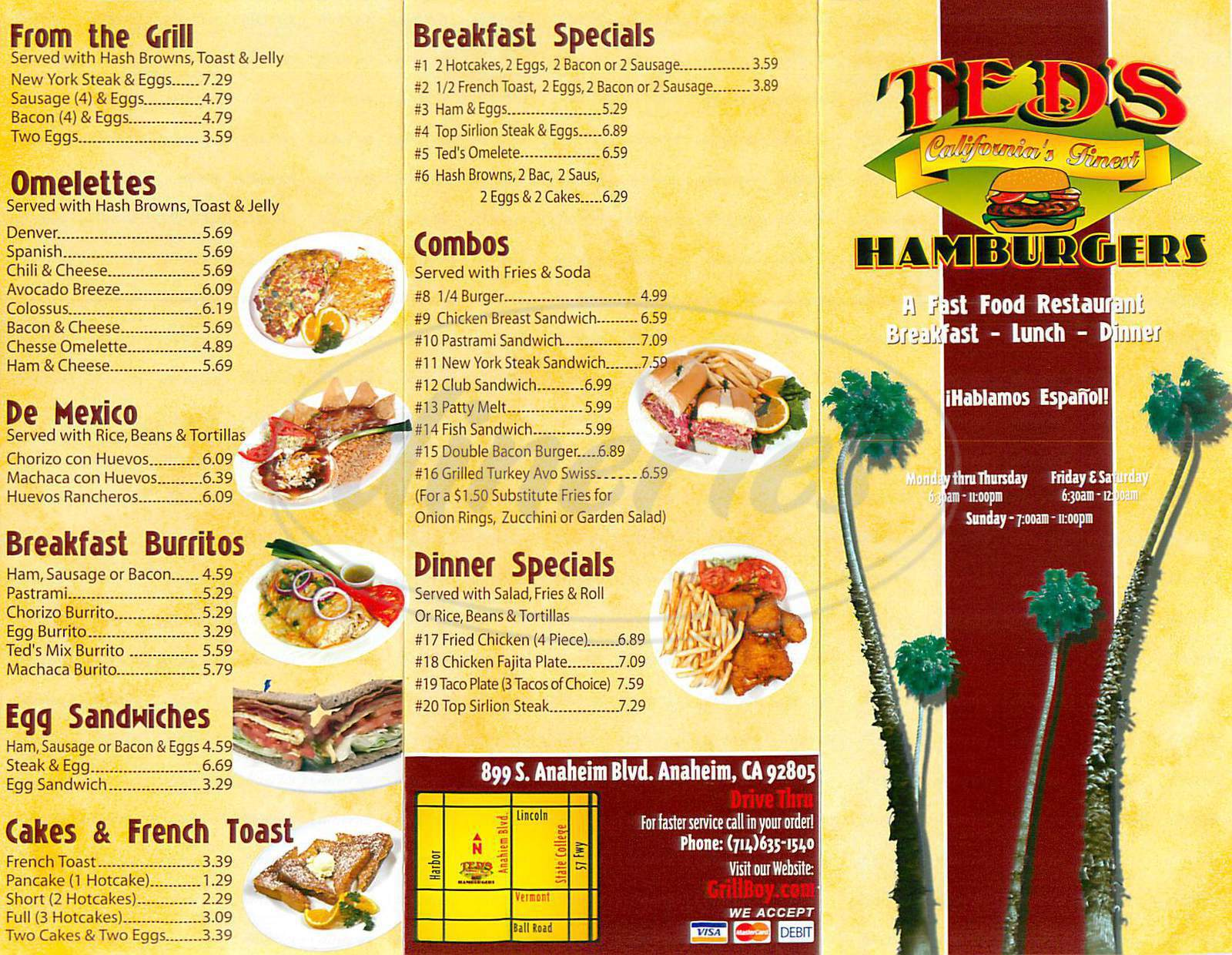 menu for Teds Hamburgers