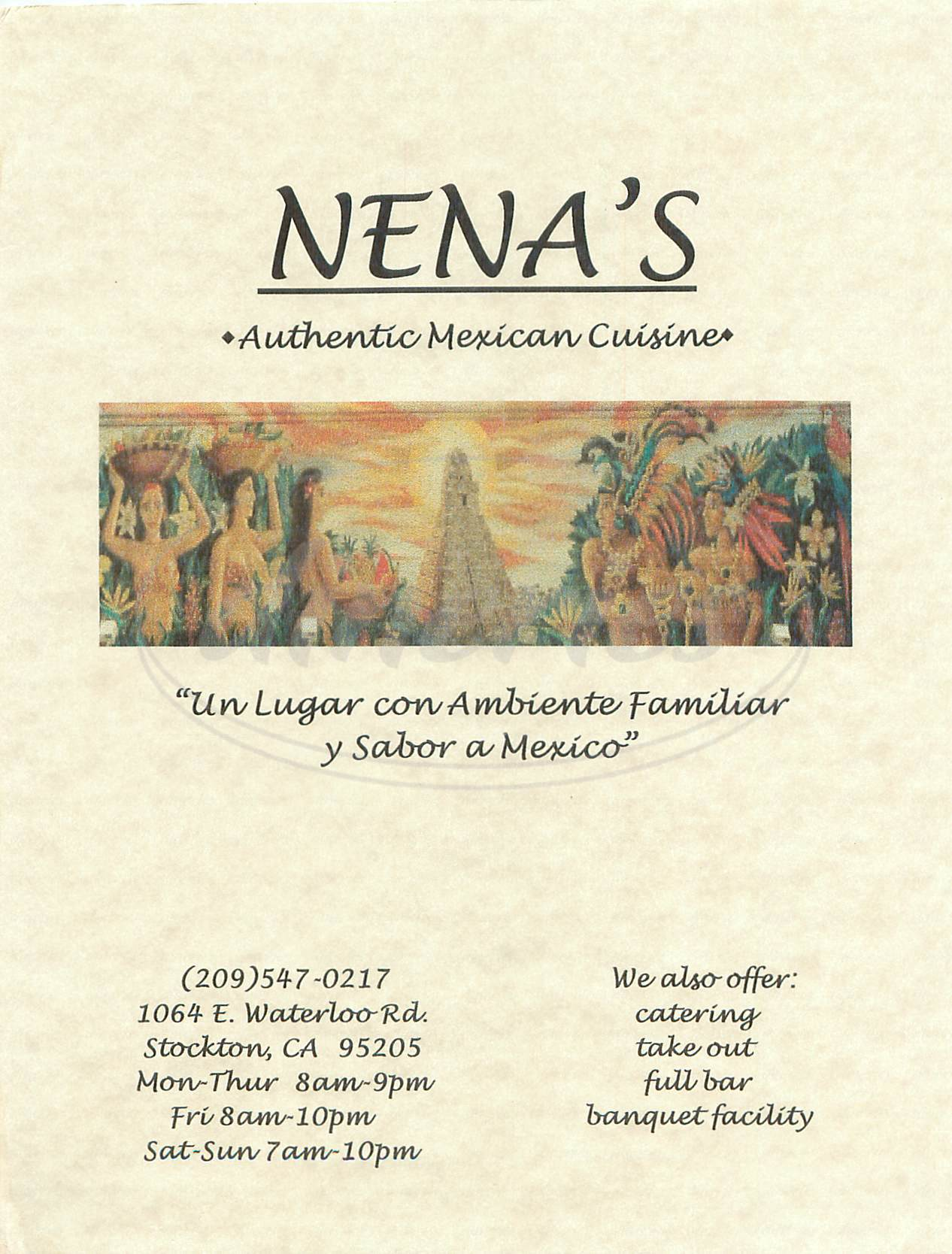 menu for Nenas Restaurant