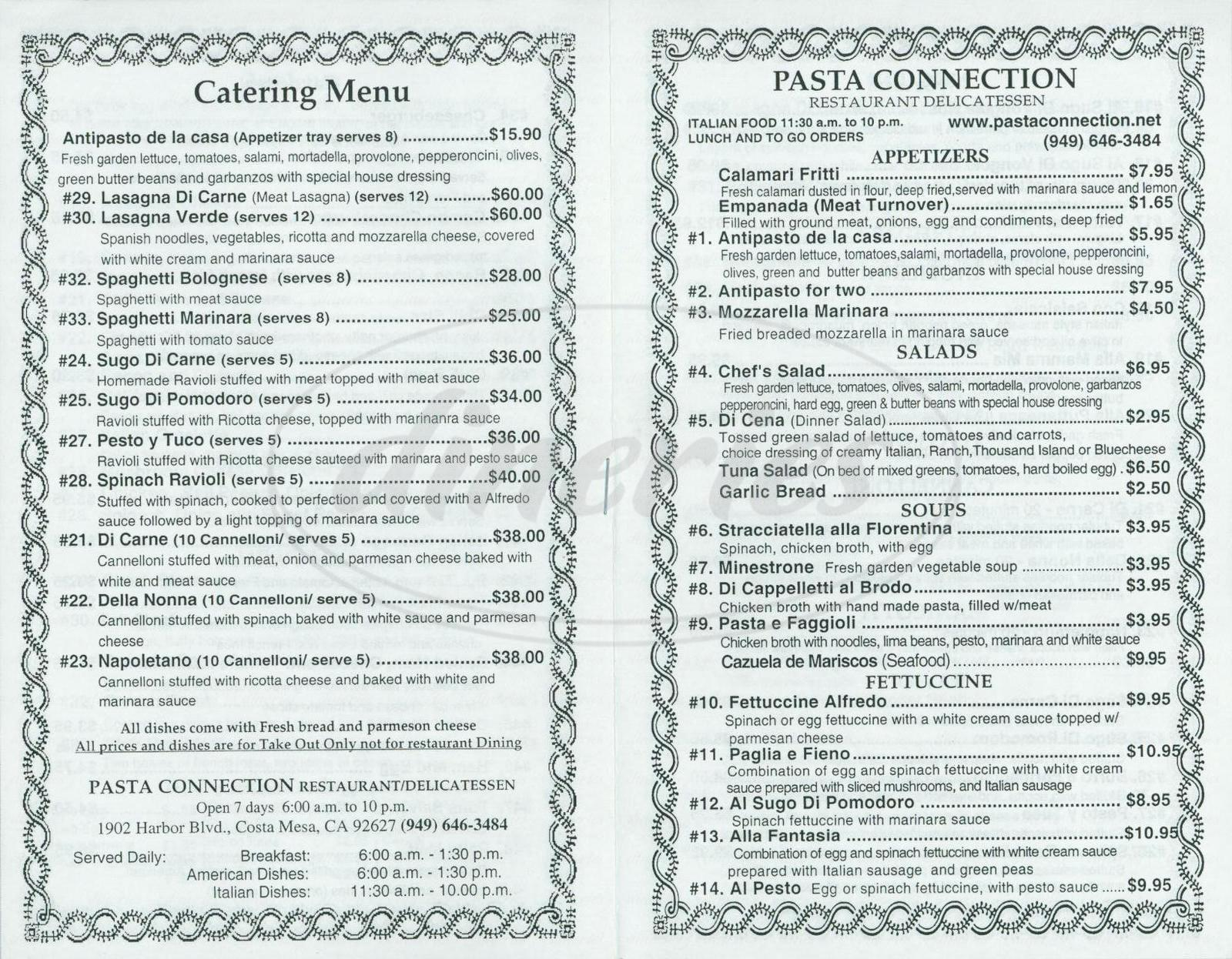 menu for Pasta Connection