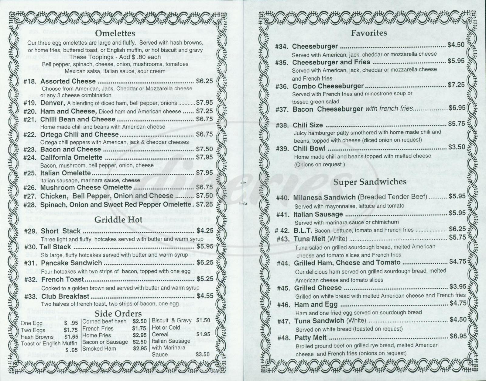 Big menu for Pasta Connection, Costa Mesa