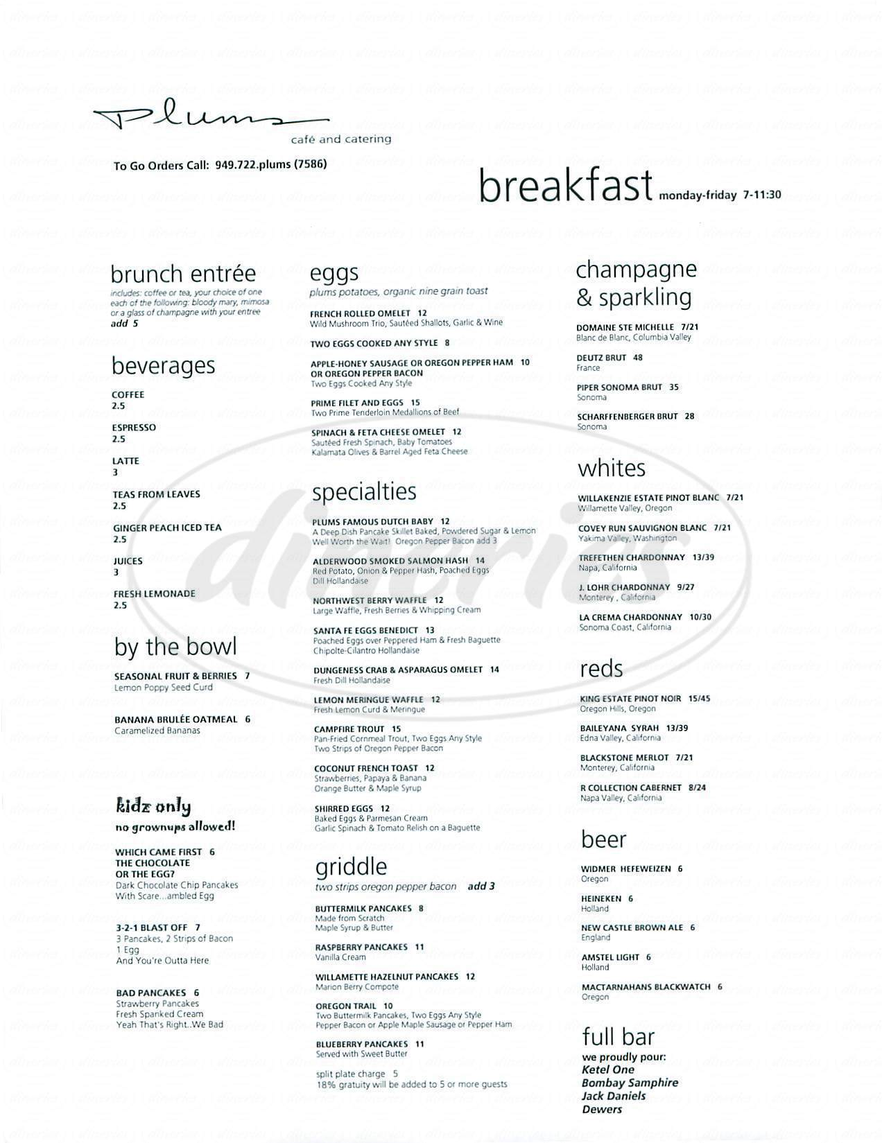 menu for Plums Café