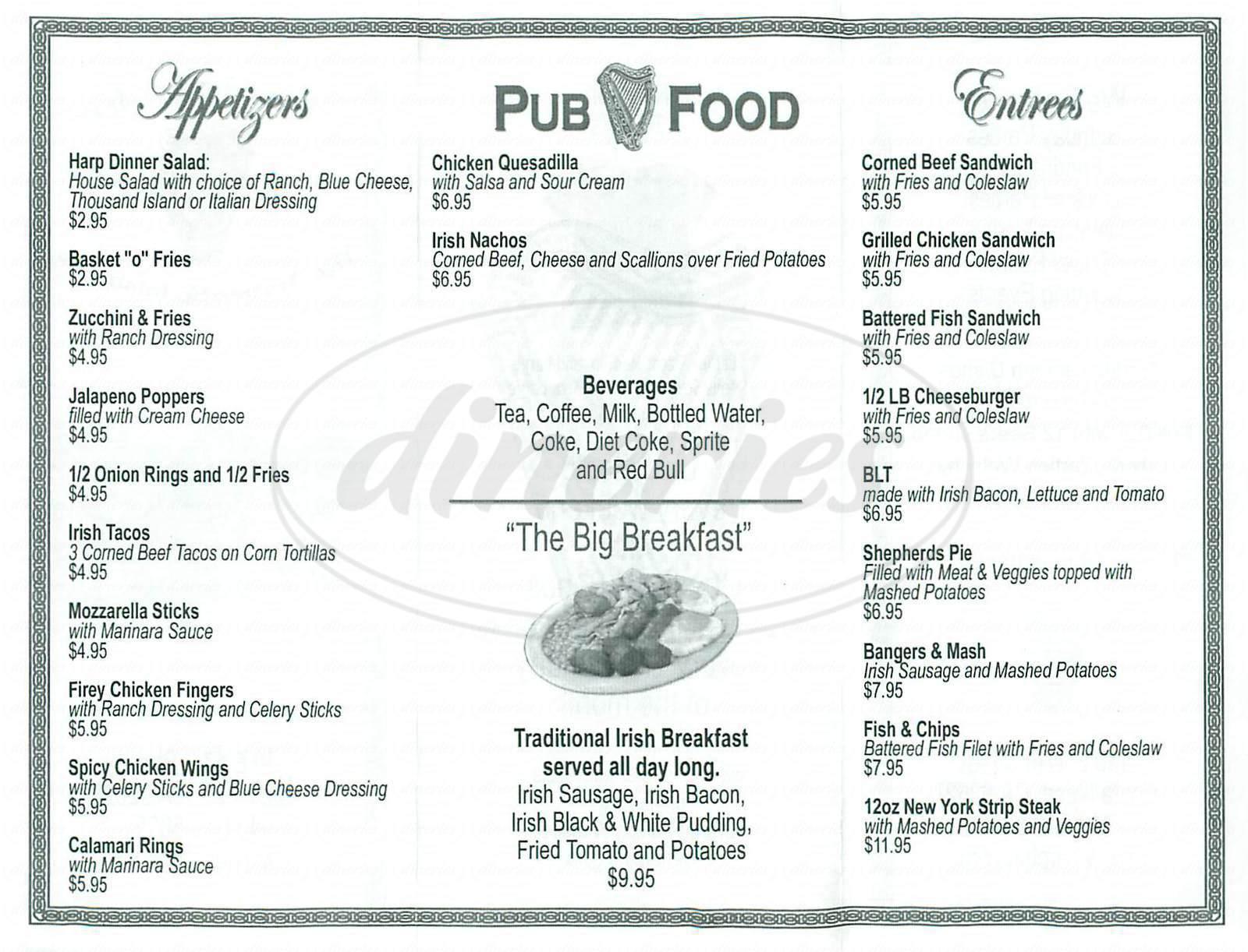 menu for The Harp Inn