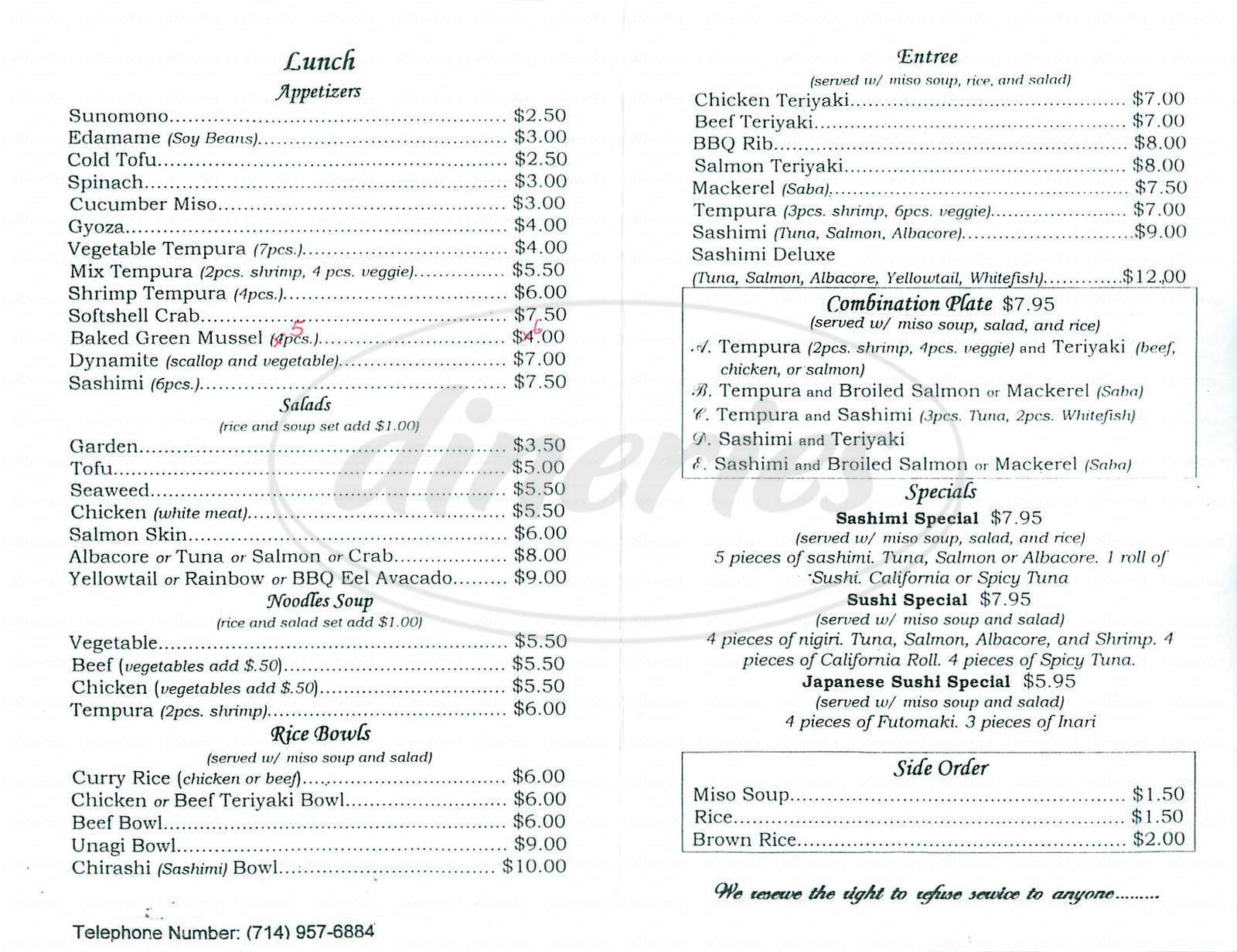 menu for Mikuni Sushi