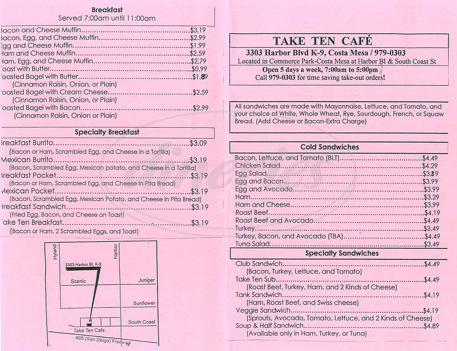 menu for Take Ten Café