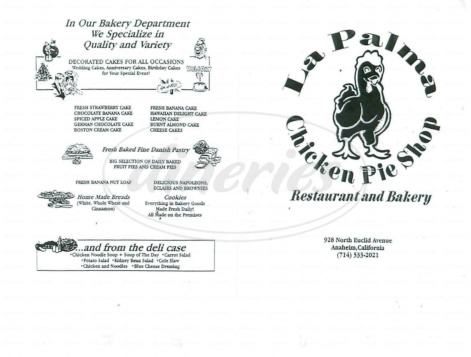 menu for La Palma Chicken Pie Shop