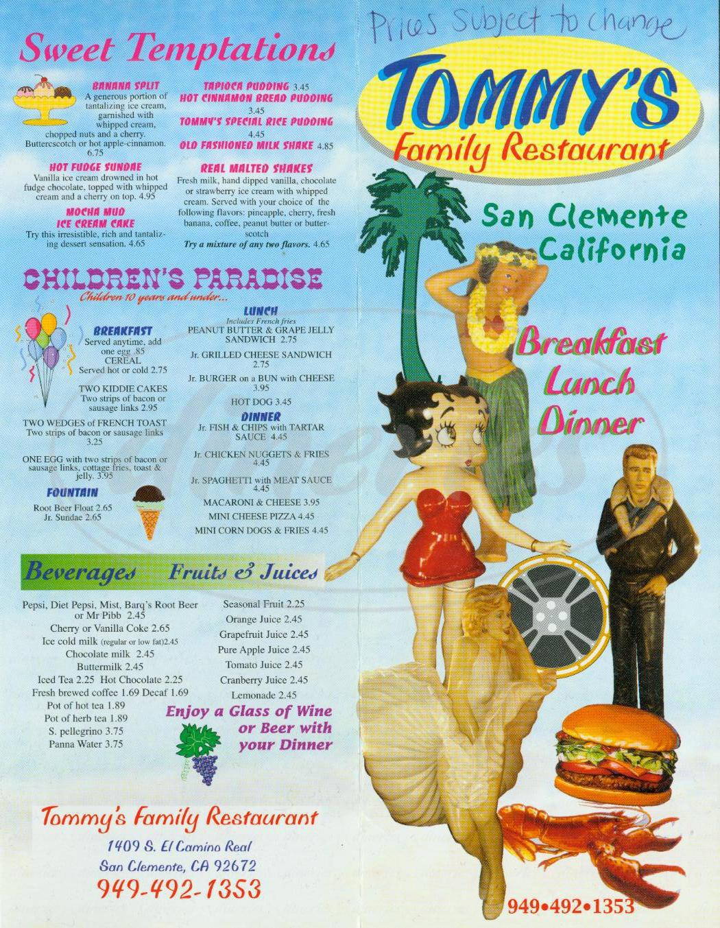 menu for Tommy's Family Restaurant