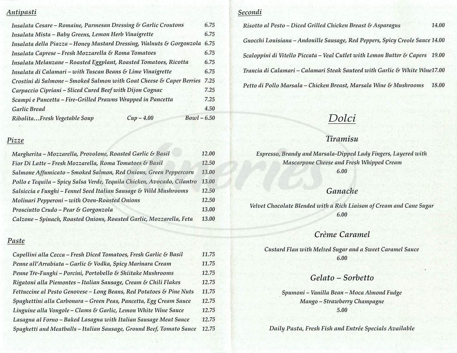 menu for La Piazza