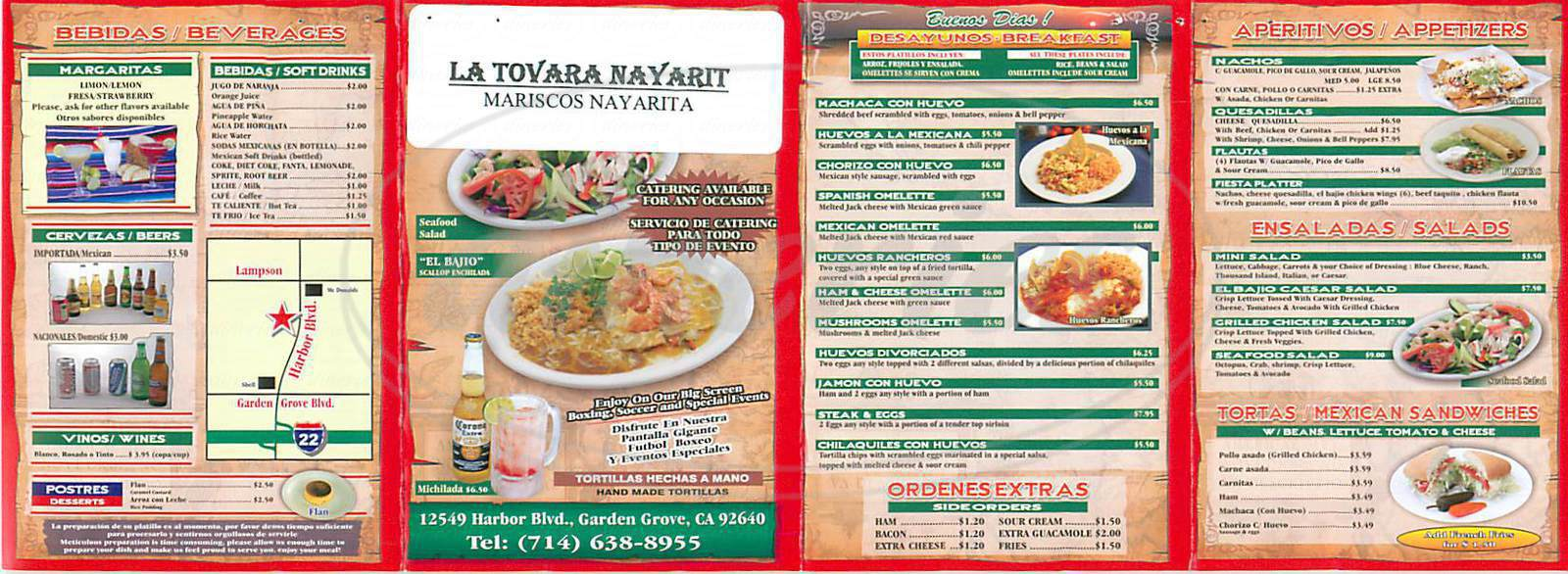 menu for La Tovara Nayarit