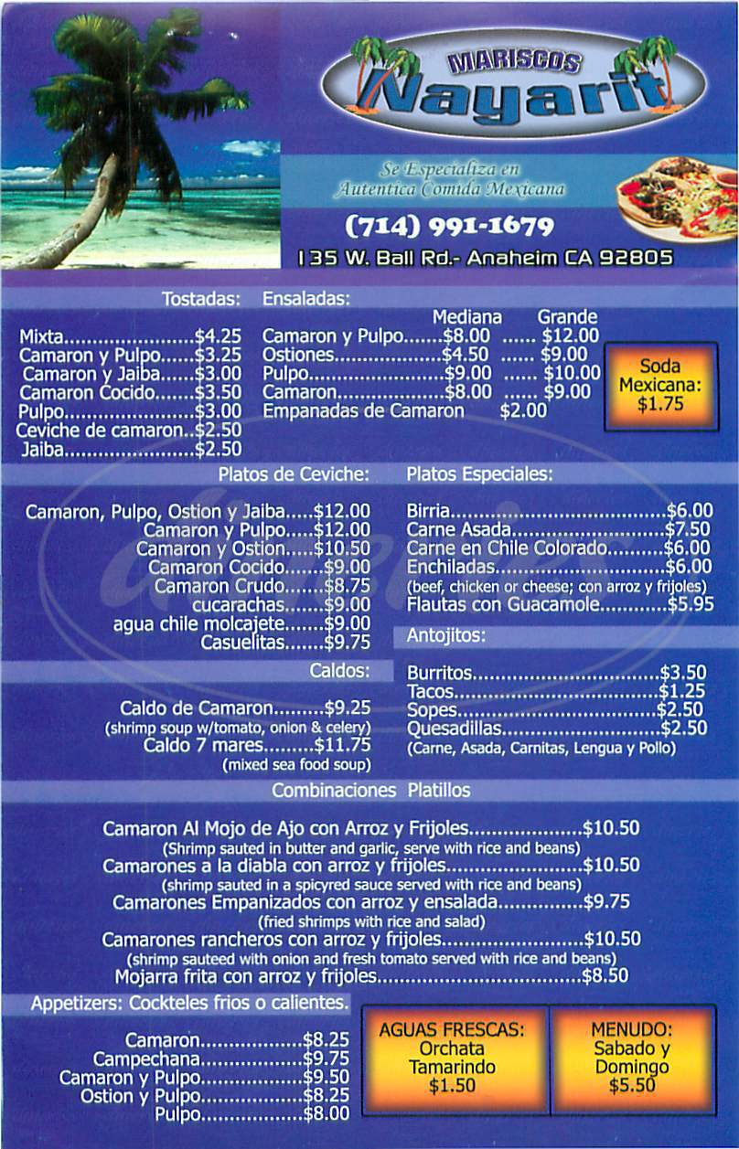 menu for Mariscos Nayarit