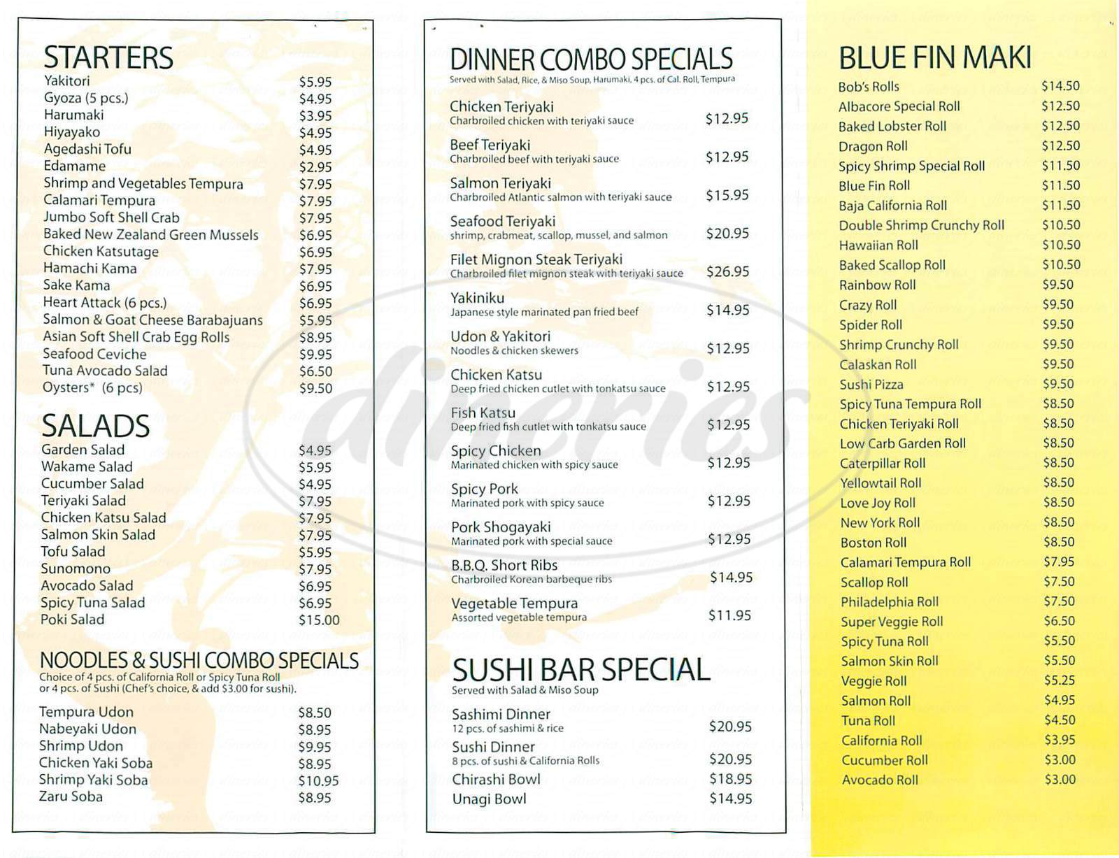 menu for Bluefin