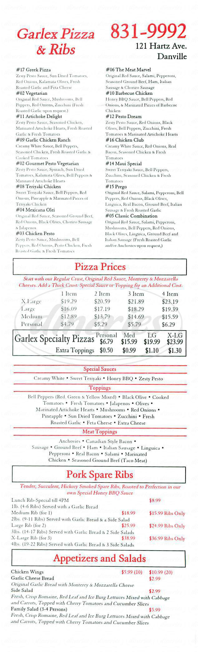 menu for Garlex Pizza & Ribs