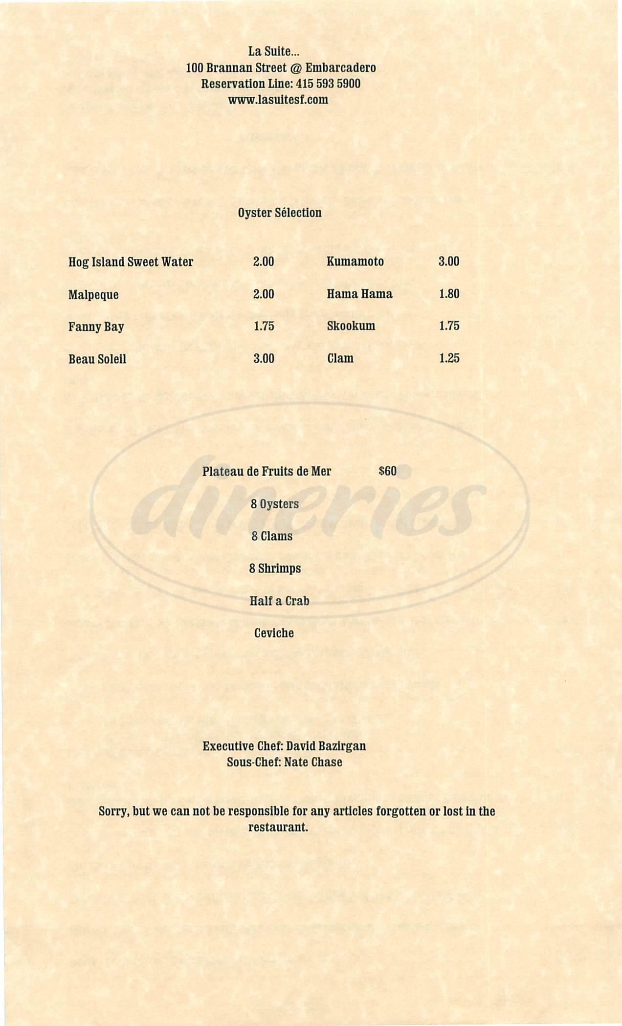 menu for La Suite