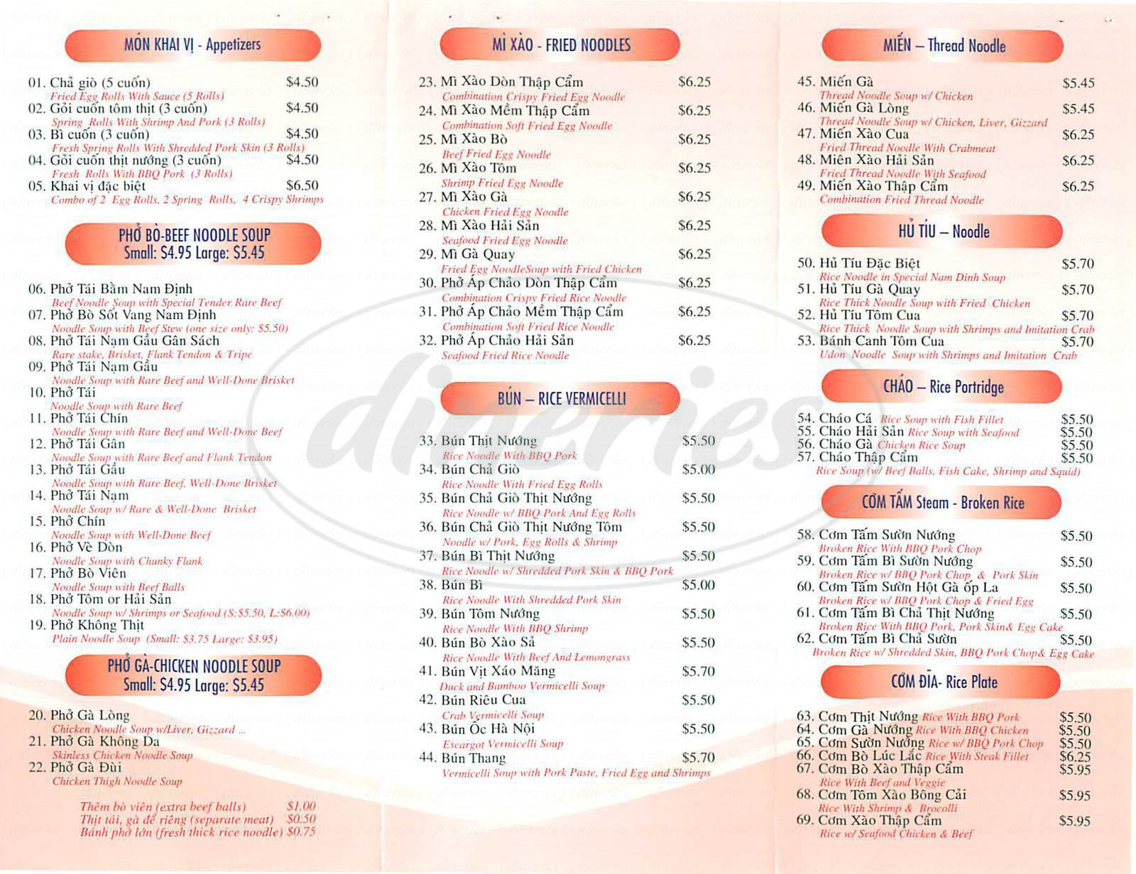 menu for Pho Nam Dinh